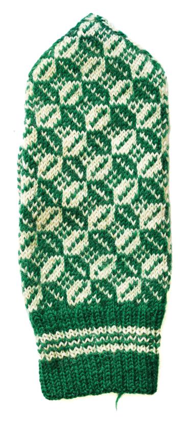 Vante med mönster av kaffebönor i grönt och vitt.