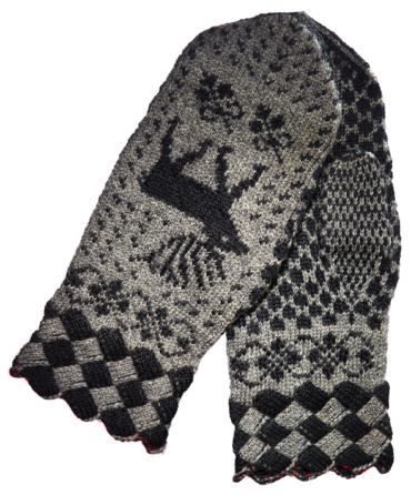 Svartgrå tumvantar med näverstickade muddar och motiv av en ren.