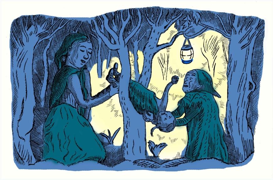 Två kvinnor drar ett barn genom en trädklyka på natten, en lykta hänger i träd i närheten.