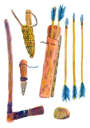 Olika verktyg som Ötzi hade med sig.